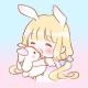 抱兔小女孩